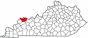 Map of Kentucky highlighting Henderson County