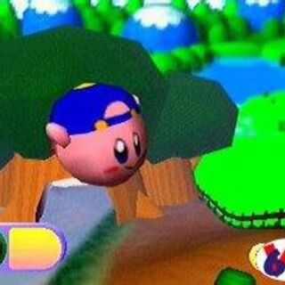 Kirby flotando (nótese el gorro azul, posiblemente haya sido una habilidad del juego).