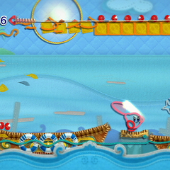 Kirby junto a un enemigo con un sable.