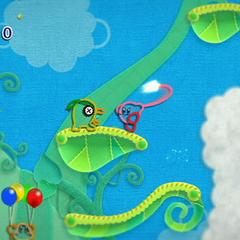 Kirby sobre una hoja a punto de usar un hilo frente a un Bandannachi.
