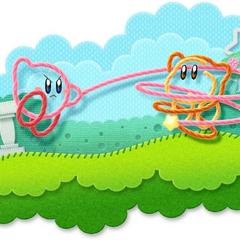 Kirby usando su látigo contra un Waddle Dee.