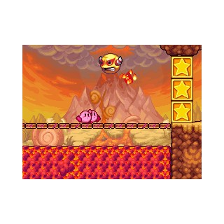 Fire Bubble persiguiendo a los Kirbys.
