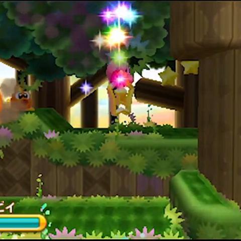 Kirby cambiando entre las plataformas.