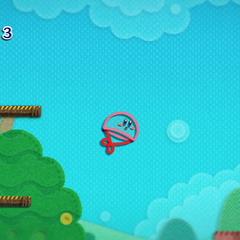 Kirby con forma de paracaídas.