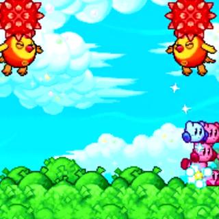 Dos Cloclós lanzando frutos espinosos a los Kirbys.