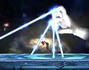 Master Hand usando su ataque en super Smash Bros Brawl