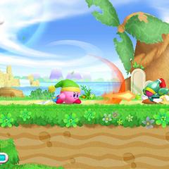 Kirby atacando con su habilidad Espada.