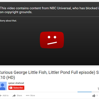 NBCUniversal taking down a Curious George video.