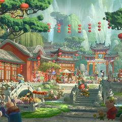 Concept artwork of the village's market square