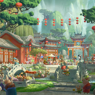 Concept artwork of the Valley's market