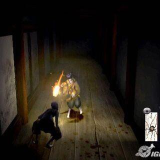 Sakuya casting a fire spell on a Gaki.