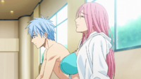 Kuroko and Momoi at the pool anime