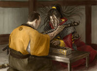 Kitsu Tenshin receiving a cursed blade from a goryo