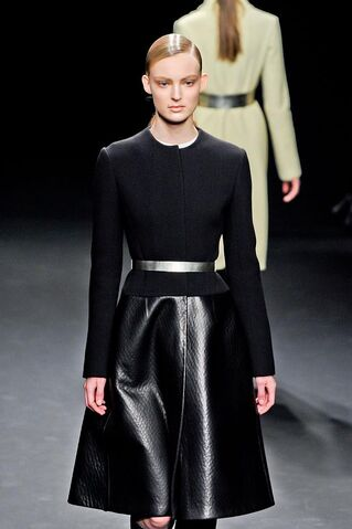 File:Calvin Klein Fall Winter 2012 Black jacket and leather skirt.jpg