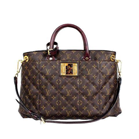 File:Louis Vuitton - Monogram canvas burgundy python ostrich tote MM bag.jpg