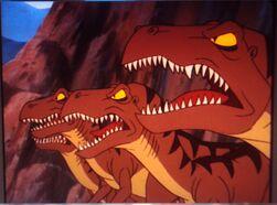 4 angry, snarling Velociraptors