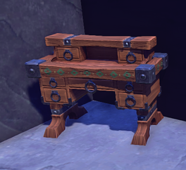 Painted Wooden Desk prop placed