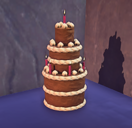 Landmark Chocolate Cake prop placed