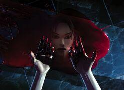 Lara con la sangre de Werner.