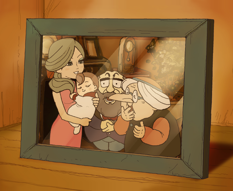 Professor Layton Curious Village - Flora with Family.PNG