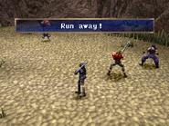 Frilled lizard running away