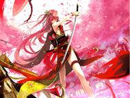 288222-800x600-56509-cherry blossoms-jpeg artifacts-katana-long hair-red-red eyes-red hair-sword-tagme