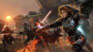 Lgstar wars futuristic fire lightsabers weapons sith armor artwork bounty hunter mandalorian th www.wallpaperhi.com 34