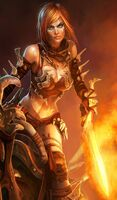Fantasy-worrier-woman-female-warrior-with-fire-sword-free-beautiful-for-508912