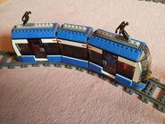Tram on tracks