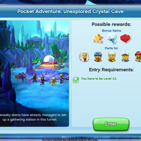 Unexplored Crystal Cave entrance screen