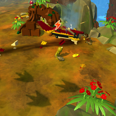 Find airplane parts in the south section of Dinosaur Rise to help the pilot.