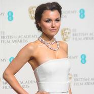 Samantha barks charles worthington baftas red carpet look celebrity beauty handbag