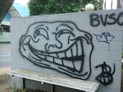 Trollface graffiti spotted at Toowong