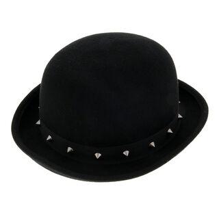 £16.00  <br /> - Studded black bowler hat  <br />- Dimensions: Circumference 58cm <br /> - 100% Felt