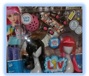 Deluxe wig set brunette and pink with a fringe