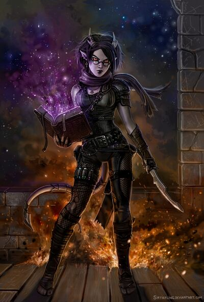 Dame tiefling igniferous by sirtiefling-d6v5ll4