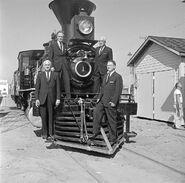 OfficialsatFairPark,Atchison,Topeka,&SantaFe,'CyrusKHolliday'LocomotiveNo1withTender
