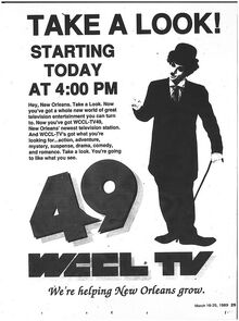 Ad for WCCL TV in March 1989 in Times Picayune's TV Focus