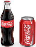Coca-Cola bottle & can