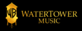 WaterTower Music Logo (2010; Horizontal Version on a Black Rectangle; Small Size)