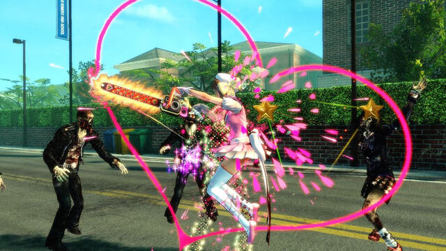 File:Lollipop Chainsaw Screenshot Juliet in Haruna cosplay executing a Combo attack.jpg