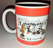 1995 Warner Brothers Studio Store Hawaii Mug Cup VG Wile E Coyote Bugs Bunny Taz