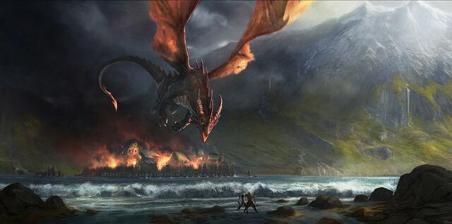 File:Smaug destroys Esgaroth by Gaius31duke.jpg