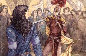 Feanor threatening Fingolfin