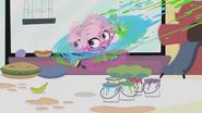 Minka throwing paint spinning