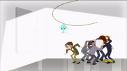 Blue monkey swings down