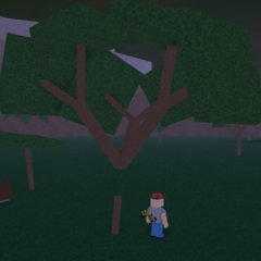 Another glitched tree, but with Chanler16 (he wants to be famous for discovering it again) next to it.