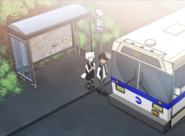 Lumine and Kody at the bus stop