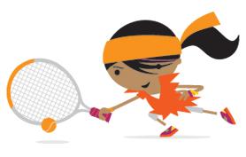 File:Mini Tennis girl in the color orange.jpg