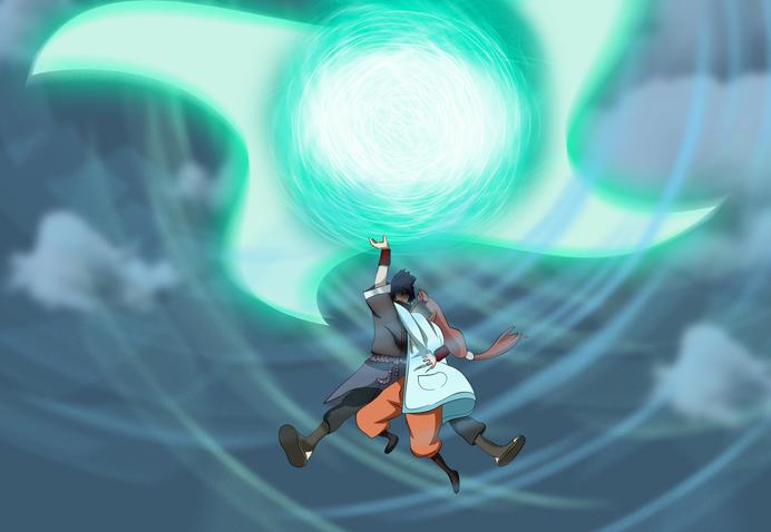 Shar usa el Rasen Shuriken gigante